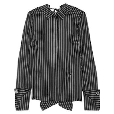 Draped Pinstriped Silk-Twill Blouse