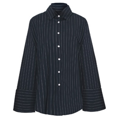 Navy Pinstripe Oversize Wide Cuff Shirt
