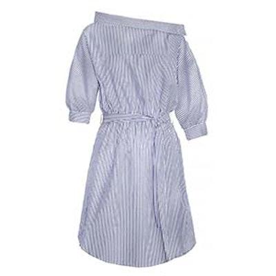 Button Side Striped Off The Shoulder Shirt Dress
