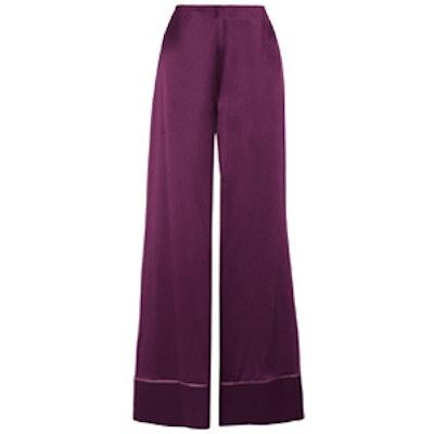 Oldridge Silk-Satin Wide-Leg Pants