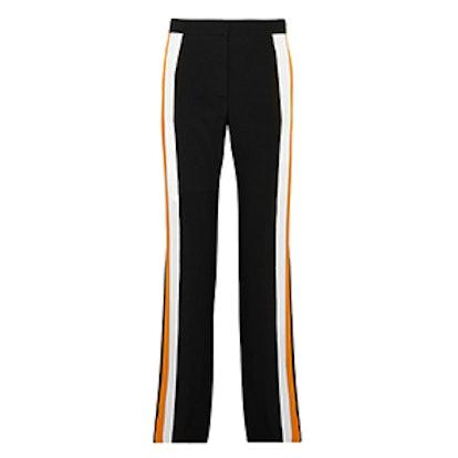 Striped Silk-Crepe Wide-Leg Pants