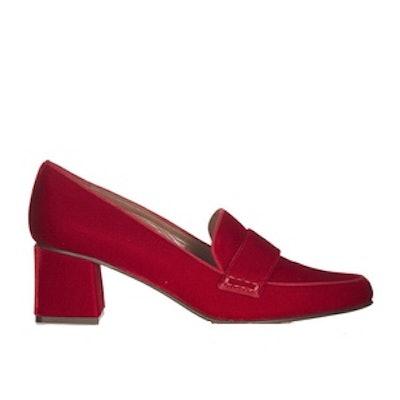 Margot Block-Heel Velvet Loafers