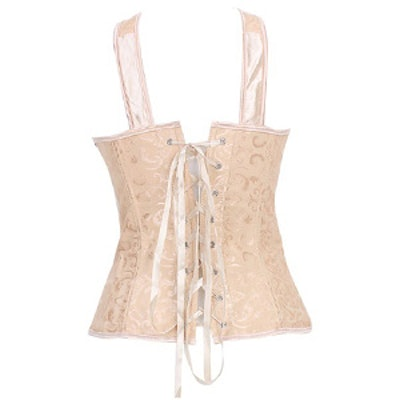 Embroidery Plastic Boned Lace Up Corset