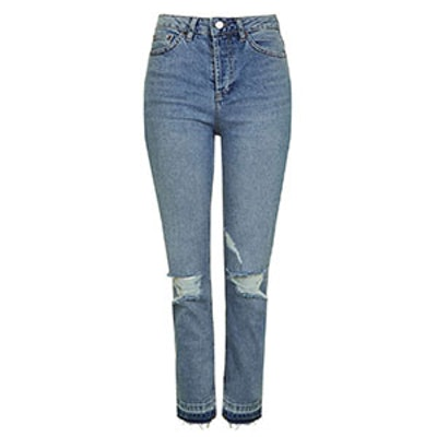 Moto Busted Knee Straight Leg Jeans