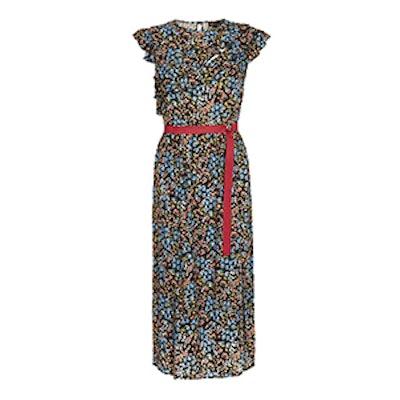 Ditsy Frill Strap Midi Dress