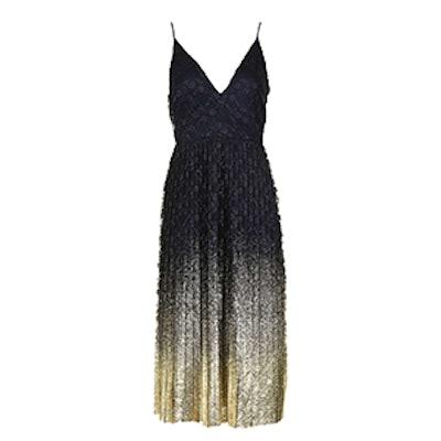 Foil Hem Plunge Neck Midi Dress