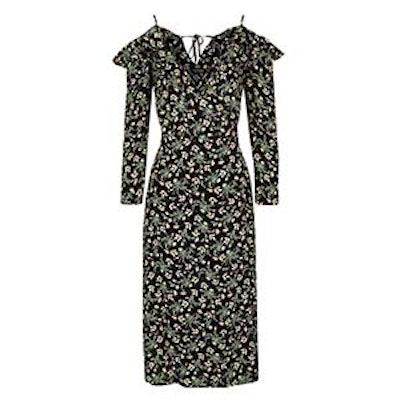 Busy Garden Ruffle Cold Shoulder Dress