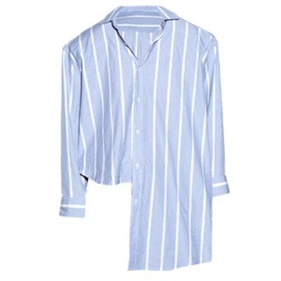 Oversized Uneven-Hem Striped Shirt