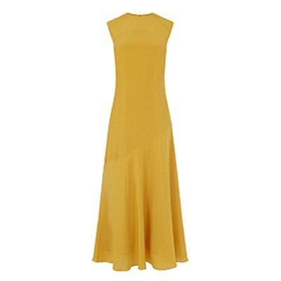 Fluted Hem Silk Maxi Dress