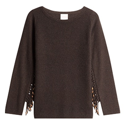 Wool Pullover With Embellished Fringe