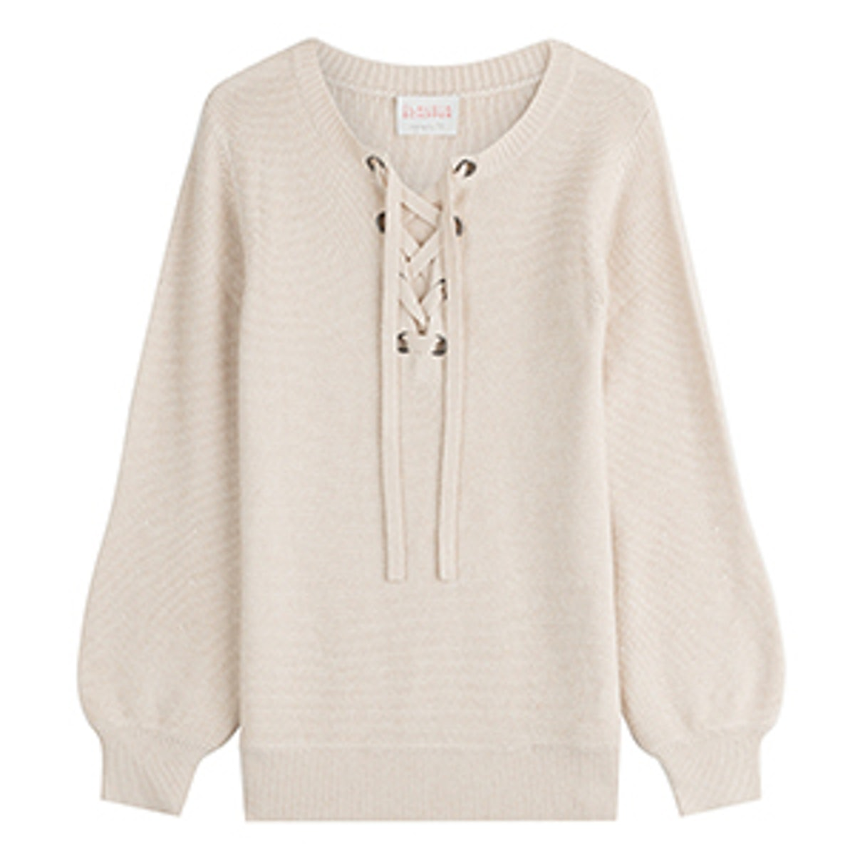 Wool Pullover With Lace-Up Front