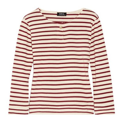 Veronica Striped Cotton-Jersey Top