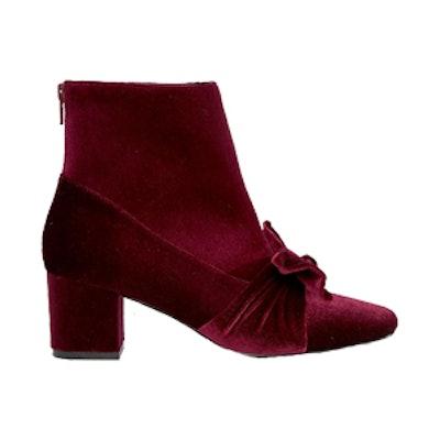 Velvet Bow Ankle Boots
