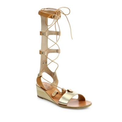 Thebes Metallic Leather Tall Gladiator Wedge Sandals