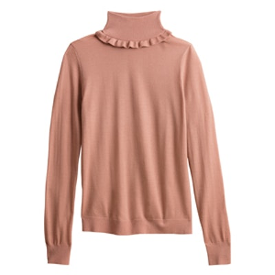 Ruffle Turtleneck Pullover