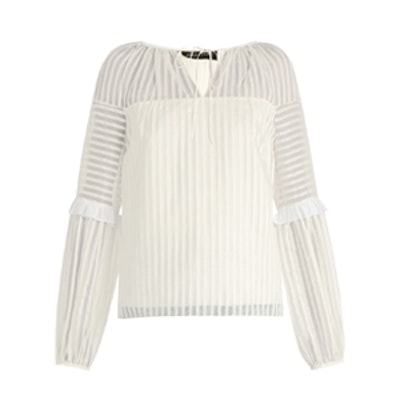 Striped-Organdy Balloon-Sleeved Top