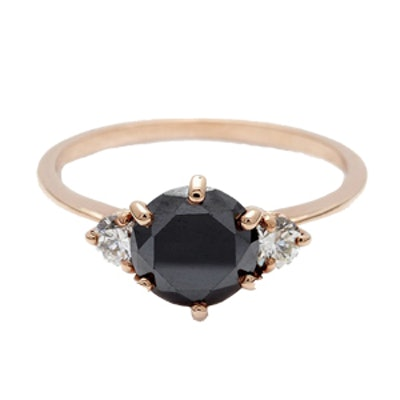 Hazeline Three Stone Black Diamond Ring