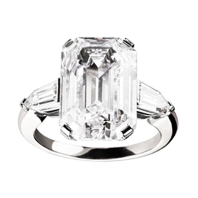Griffe Solitaire Emerald Cut Diamond And Platinum Engagement Ring