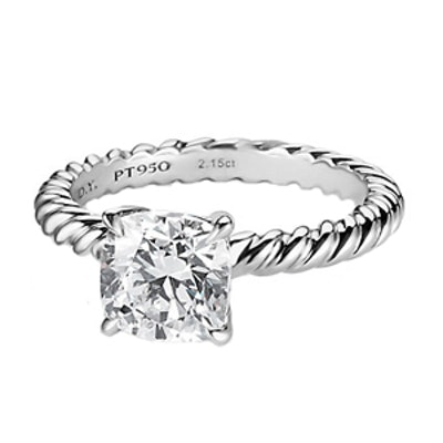 Cushion Cut Cable Solitaire Engagement Ring in Platinum