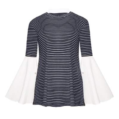 Striped Bell Sleeve Pearl Cuff Top