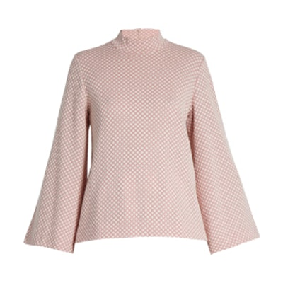 Brigitta Honeycomb-Jacquard Wool Top