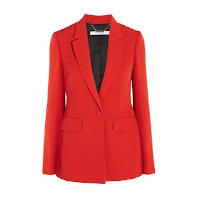 Blazer In Red Grain De Poudre Wool