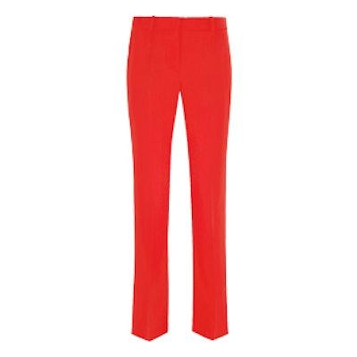 Cropped Straight-Leg Pants In Red Grain De Poudre Wool