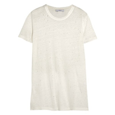 Marvin Distressed Linen-Jersey T-Shirt
