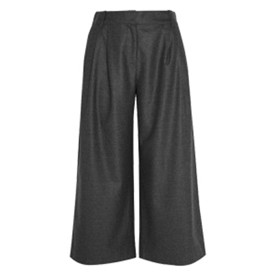Cropped Wool-Flannel Wide-Leg Pants