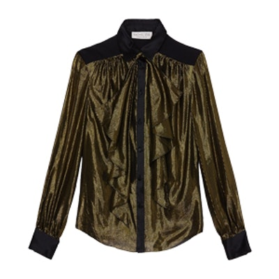 Jaelyn Metallic Silk Blouse