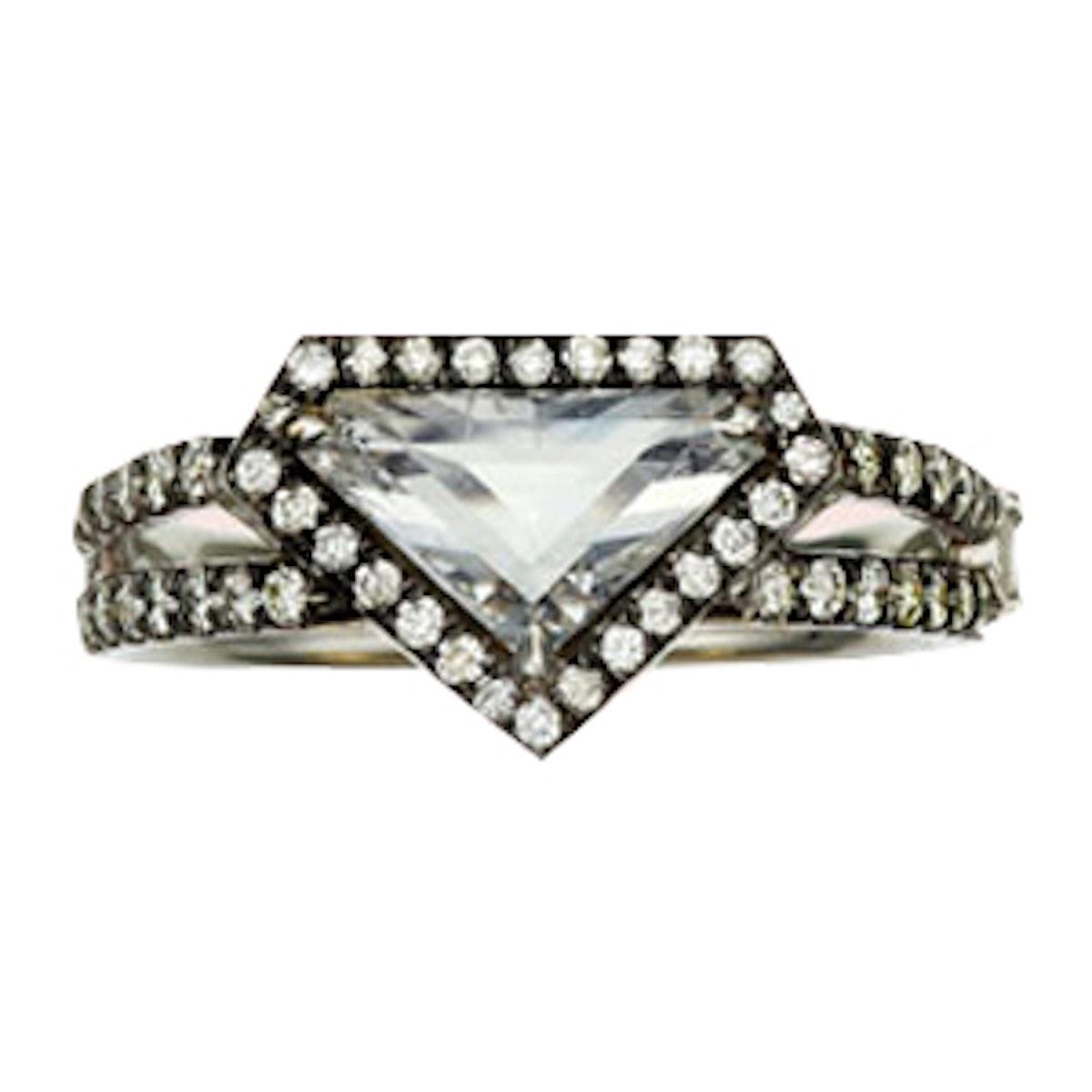 Rose Cut Diamond Shield Ring