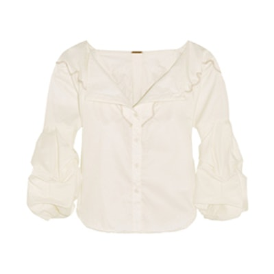 Anna Beth Embroidered Cotton Twill Shirt