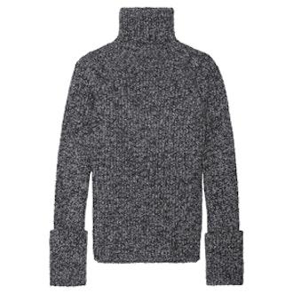 Mélange Wool-Blend Turtleneck Sweater