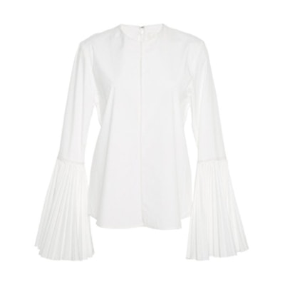Stretch Cotton Shirting Pleated Bell Sleeve Top