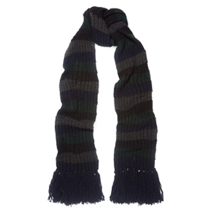 Beat Striped Ribbed-Knit Scarf
