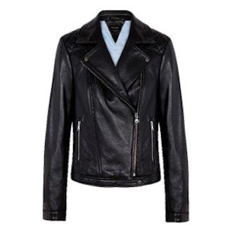 Nappa Biker Jacket Quilted Shoulder Detail