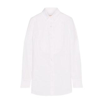 Piqué-Paneled Stretch-Cotton Shirt