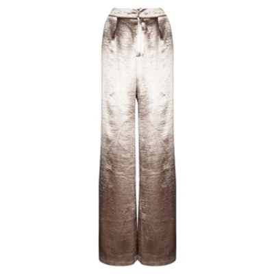 Satin Wide Leg Trousers Gold