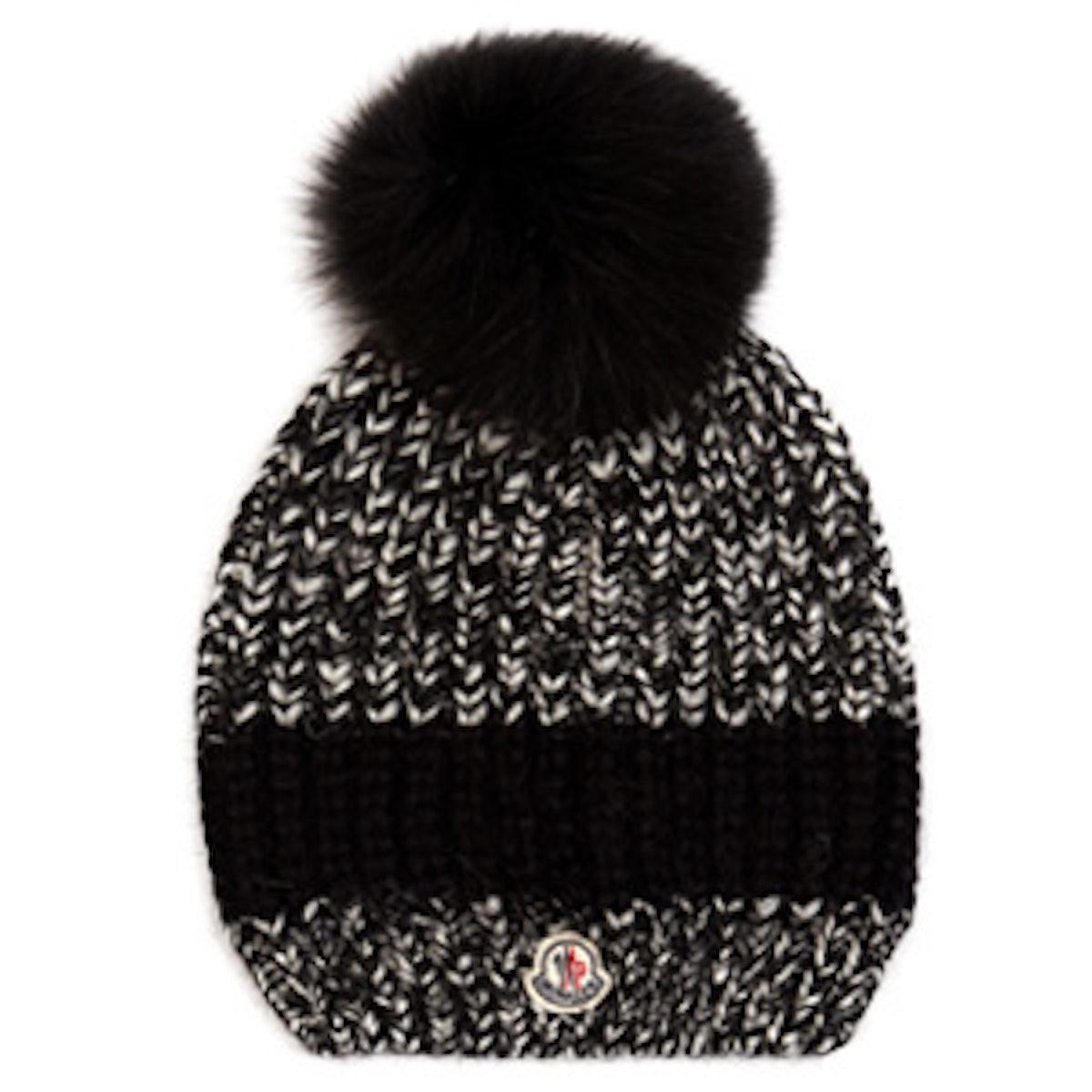 Fur-Pompom Ribbed-Knit Hat