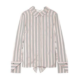 Draped Striped Silk-Twill Blouse