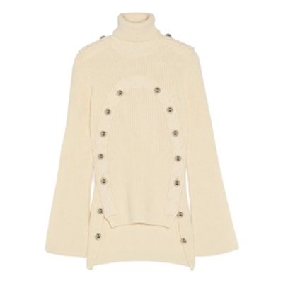 Embellished Merino Wool Turtleneck Sweater