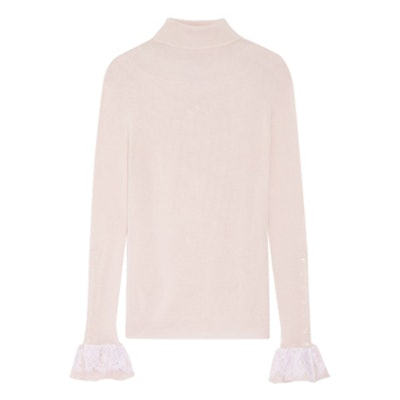 Silk-Chiffon And Lace-Trimmed Wool Turtleneck Sweater