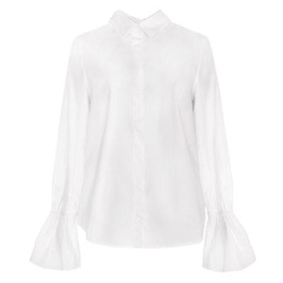 Bell Sleeve Cuff White Shirt