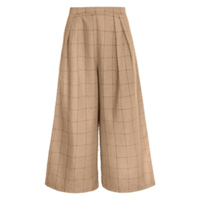 Brown Plaid Check Crop Culottes