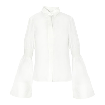 Elastic Sleeve Bell Sleeve Shirt