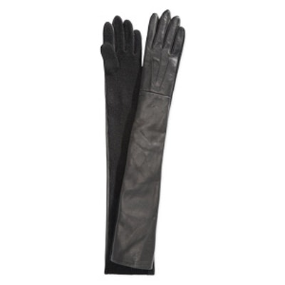 Leather and Knit Opera Gloves