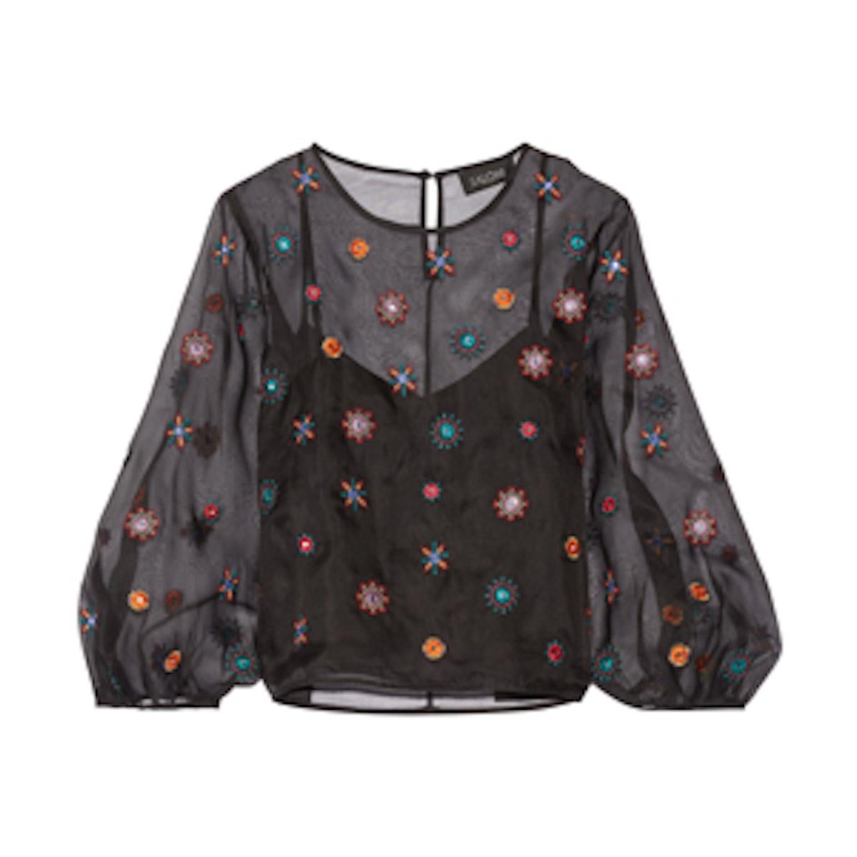 Thea Embellished Silk-Organza Blouse