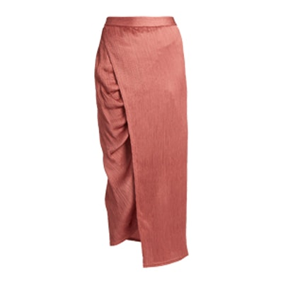 Gathered-Seam Crinkled-Satin Midi Skirt