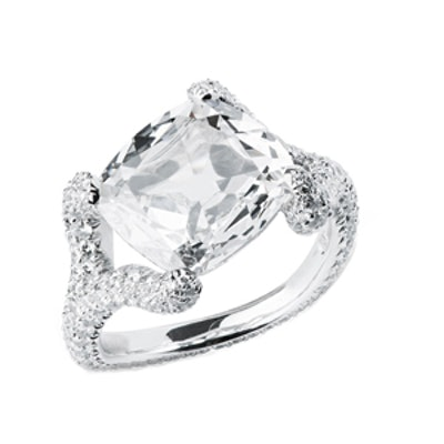 Take My Breath Away Cuchion Diamond Ring in White Gold