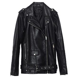 Long Leather-Effect Jacket